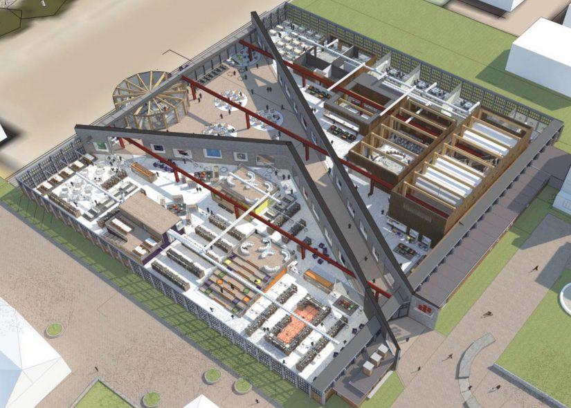 Realisatie van een nieuw gemeentehuis na het samenvoegen van de gemeenten Zevenaar en Rijnwaarden door de transformatie van de voormalige sigarettenfabriek van British American Tobacco - BOAG